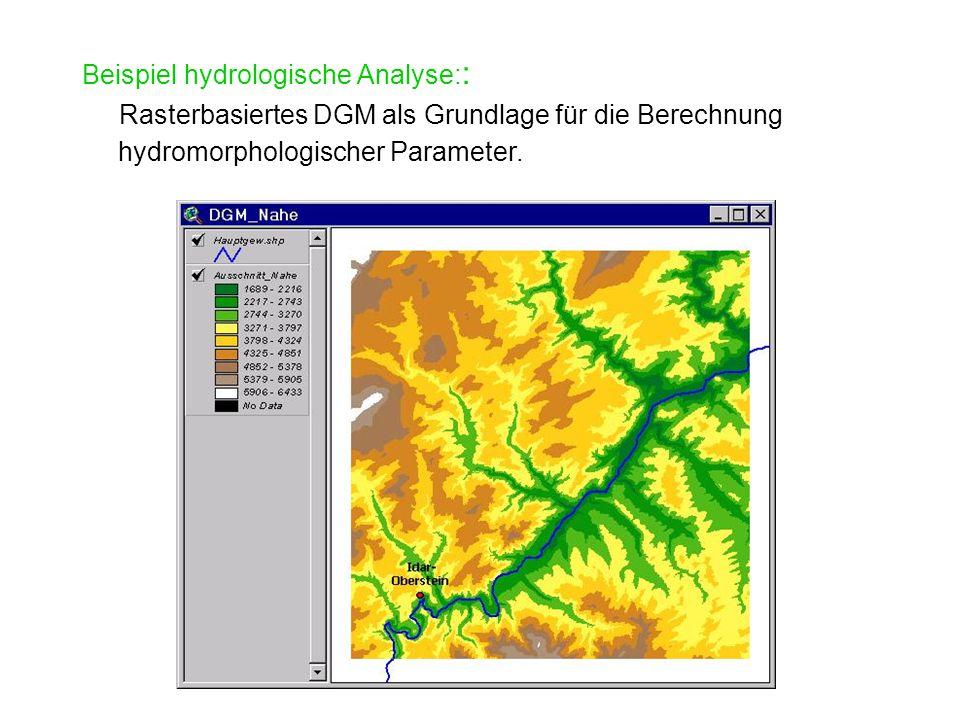 Beispiel hydrologische Analyse: : Rasterbasiertes DGM als Grundlage für die Berechnung hydromorphologischer Parameter.