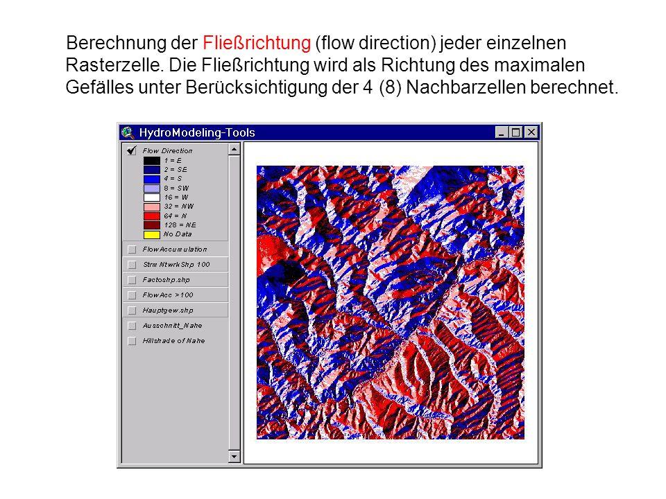 Berechnung der Fließrichtung (flow direction) jeder einzelnen Rasterzelle. Die Fließrichtung wird als Richtung des maximalen Gefälles unter Berücksich