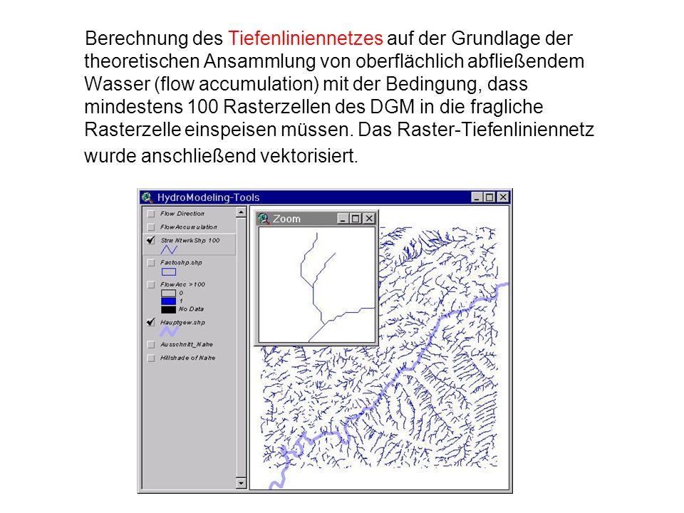 Berechnung des Tiefenliniennetzes auf der Grundlage der theoretischen Ansammlung von oberflächlich abfließendem Wasser (flow accumulation) mit der Bed