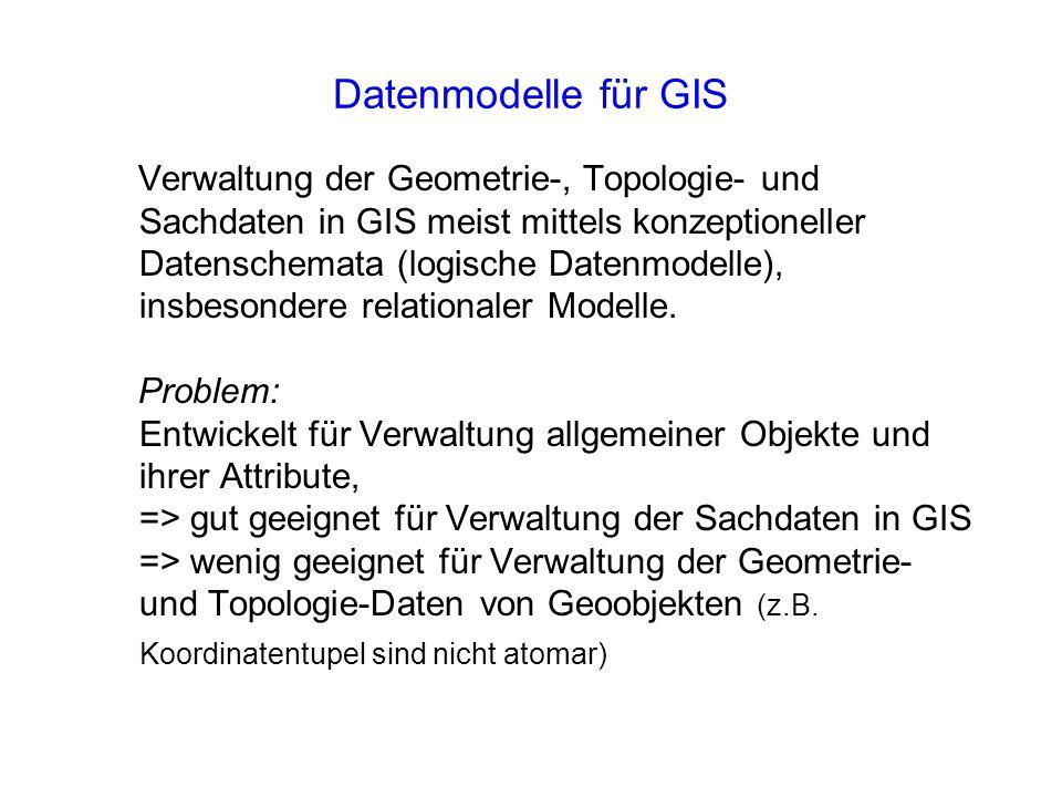 Datenmodelle für GIS Verwaltung der Geometrie-, Topologie- und Sachdaten in GIS meist mittels konzeptioneller Datenschemata (logische Datenmodelle), i