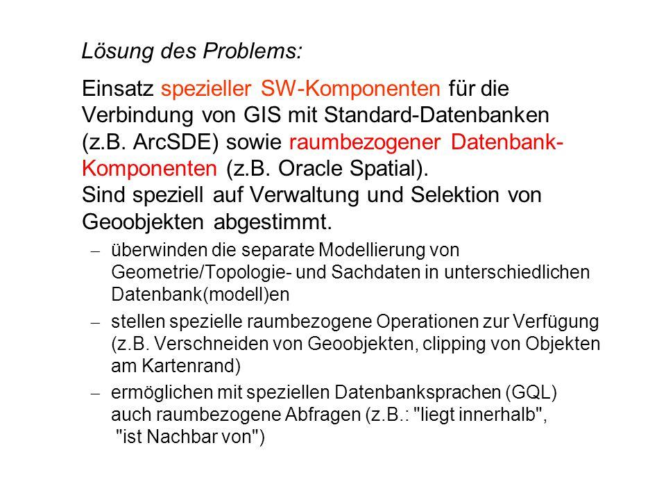 Lösung des Problems: Einsatz spezieller SW-Komponenten für die Verbindung von GIS mit Standard-Datenbanken (z.B. ArcSDE) sowie raumbezogener Datenbank