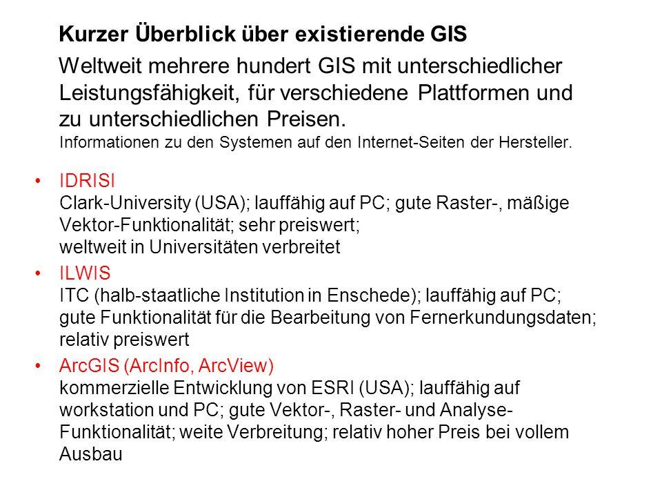 Kurzer Überblick über existierende GIS Weltweit mehrere hundert GIS mit unterschiedlicher Leistungsfähigkeit, für verschiedene Plattformen und zu unte