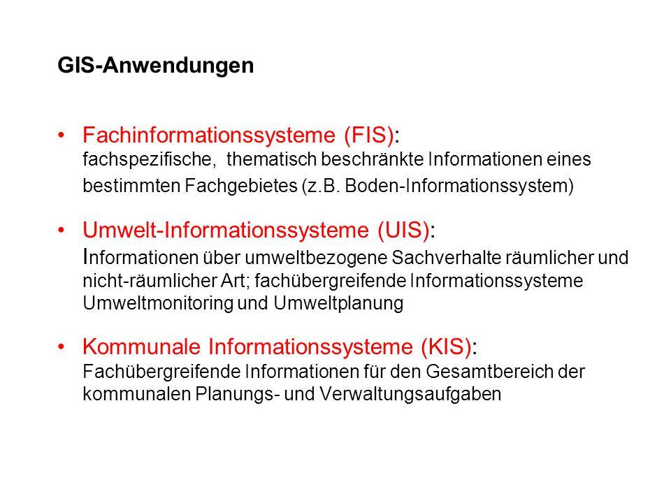 GIS-Anwendungen Fachinformationssysteme (FIS): fachspezifische, thematisch beschränkte Informationen eines bestimmten Fachgebietes (z.B. Boden-Informa