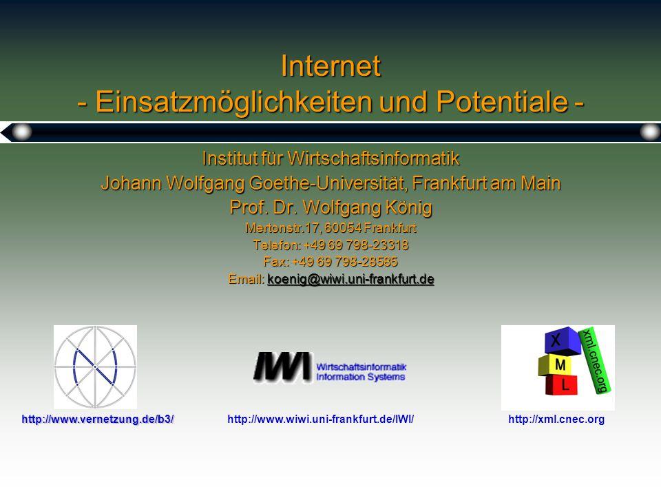 1 Internet - Einsatzmöglichkeiten und Potentiale - Institut für Wirtschaftsinformatik Johann Wolfgang Goethe-Universität, Frankfurt am Main Prof.