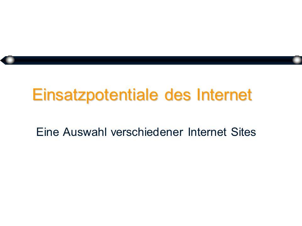 9 Einsatzpotentiale des Internet Eine Auswahl verschiedener Internet Sites