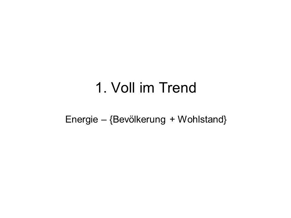 1. Voll im Trend : Energie – { Bevölkerung + Wohlstand } aktuelle Lage: BRD und EU 2. Weltweite Beobachtungen: CO2, Temperatur, Zuordnung 3. KlimaMode