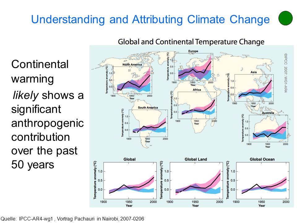 Aufgrund der vorliegenden (physikalischen) Klimamodell- rechnungen ist die globale Erwärmung sehr wahrscheinlich* anthropogen. Für die letzten ca. 50