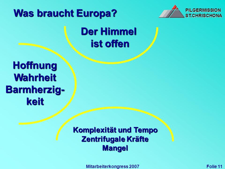 PILGERMISSIONST.CHRISCHONAPILGERMISSIONST.CHRISCHONA Folie 11Mitarbeiterkongress 2007 Was braucht Europa? Der Himmel ist offen HoffnungWahrheit Barmhe