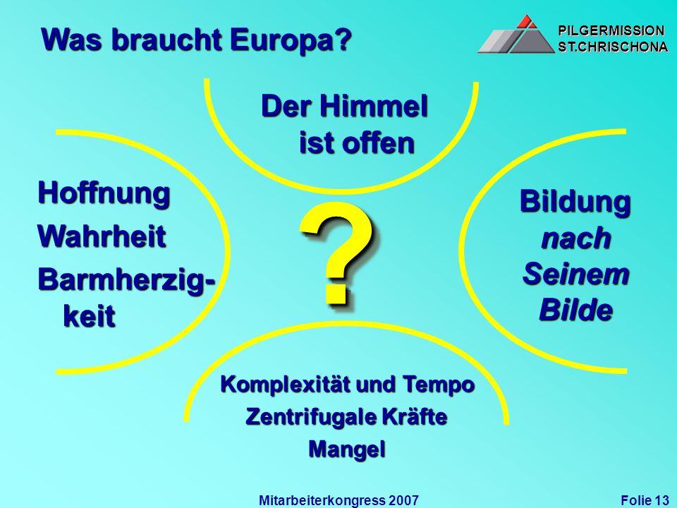 PILGERMISSIONST.CHRISCHONAPILGERMISSIONST.CHRISCHONA Folie 13Mitarbeiterkongress 2007 Was braucht Europa? HoffnungWahrheit Barmherzig- keit Der Himmel