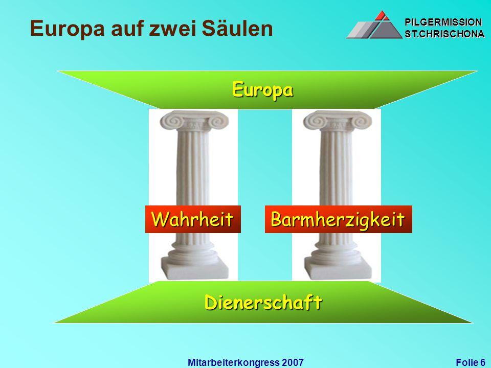 PILGERMISSIONST.CHRISCHONAPILGERMISSIONST.CHRISCHONA Folie 6Mitarbeiterkongress 2007 Europa auf zwei Säulen WahrheitBarmherzigkeit Dienerschaft Europa