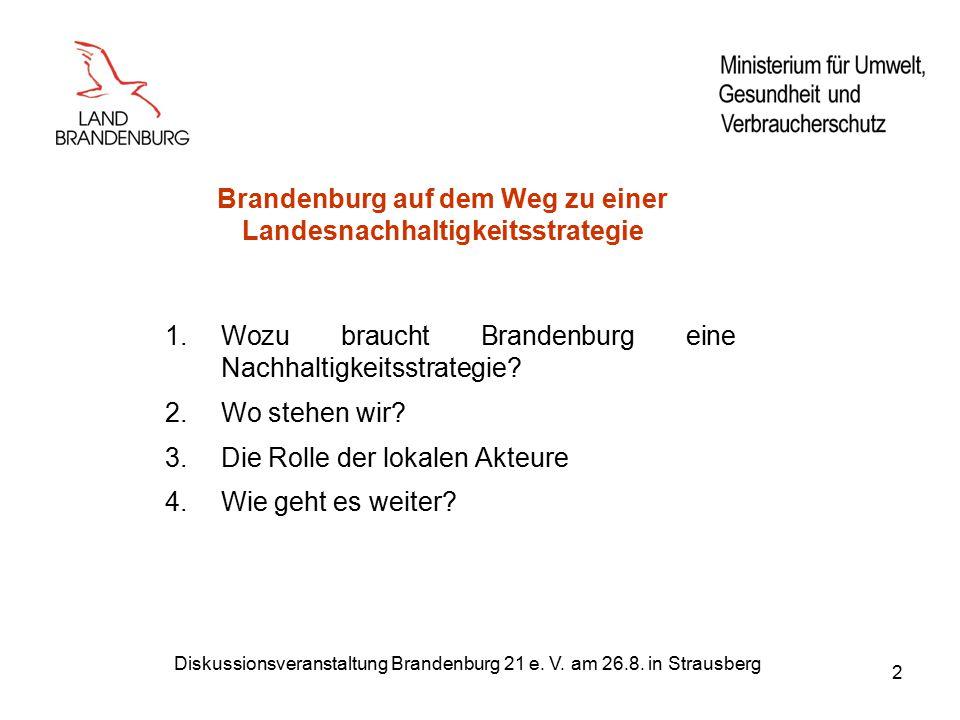 Diskussionsveranstaltung Brandenburg 21 e. V. am 26.8. in Strausberg 2 Brandenburg auf dem Weg zu einer Landesnachhaltigkeitsstrategie 1.Wozu braucht