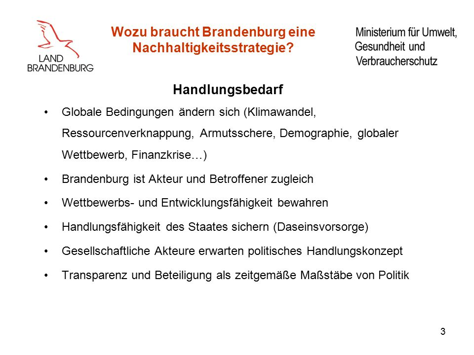 Wozu braucht Brandenburg eine Nachhaltigkeitsstrategie.