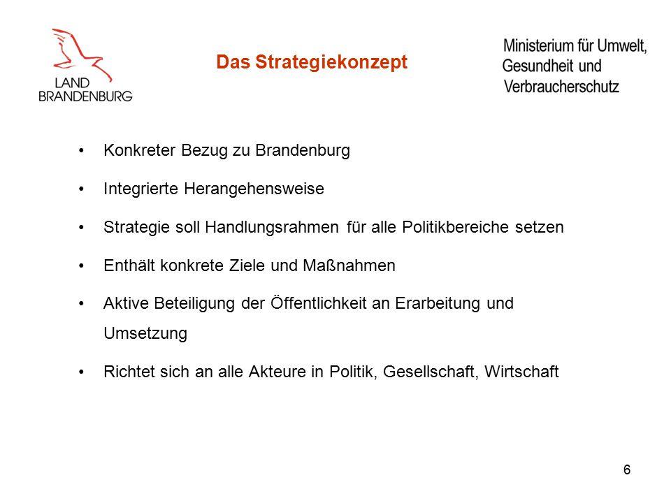 6 Das Strategiekonzept Konkreter Bezug zu Brandenburg Integrierte Herangehensweise Strategie soll Handlungsrahmen für alle Politikbereiche setzen Enthält konkrete Ziele und Maßnahmen Aktive Beteiligung der Öffentlichkeit an Erarbeitung und Umsetzung Richtet sich an alle Akteure in Politik, Gesellschaft, Wirtschaft