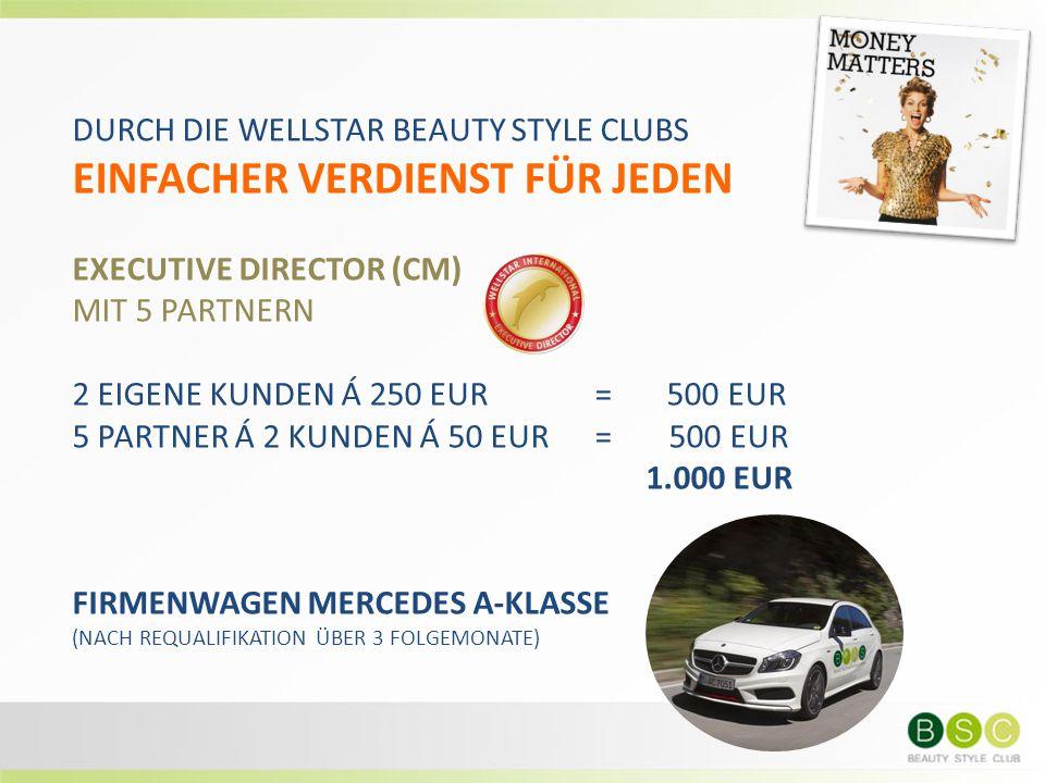 DURCH DIE WELLSTAR BEAUTY STYLE CLUBS EINFACHER VERDIENST FÜR JEDEN EXECUTIVE DIRECTOR (CM) MIT 5 PARTNERN 2 EIGENE KUNDEN Á 250 EUR= 500 EUR 5 PARTNE