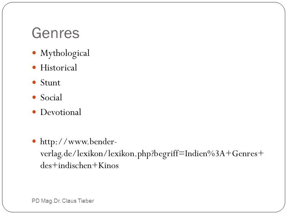 Genres PD Mag.Dr. Claus Tieber Mythological Historical Stunt Social Devotional http://www.bender- verlag.de/lexikon/lexikon.php?begriff=Indien%3A+Genr