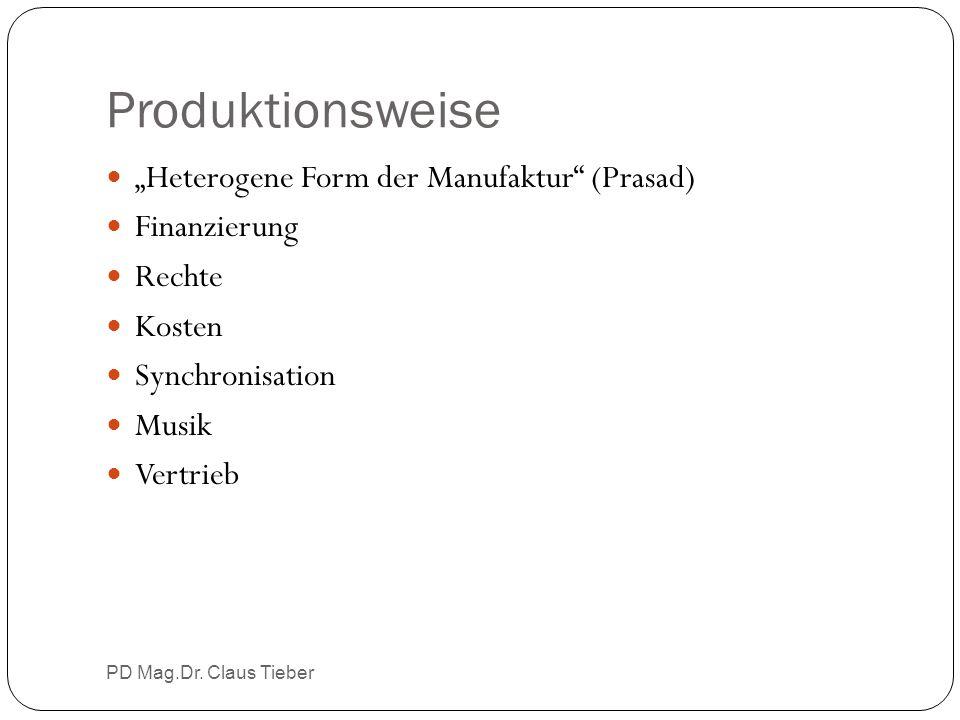 """Produktionsweise PD Mag.Dr. Claus Tieber """"Heterogene Form der Manufaktur"""" (Prasad) Finanzierung Rechte Kosten Synchronisation Musik Vertrieb"""