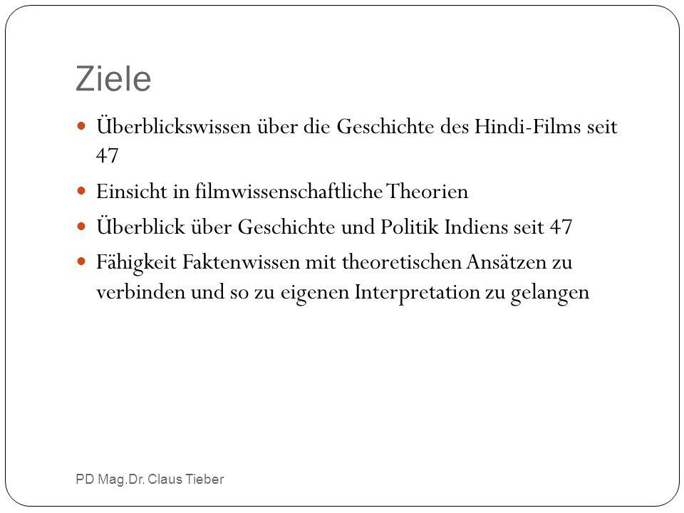 Ziele PD Mag.Dr. Claus Tieber Überblickswissen über die Geschichte des Hindi-Films seit 47 Einsicht in filmwissenschaftliche Theorien Überblick über G