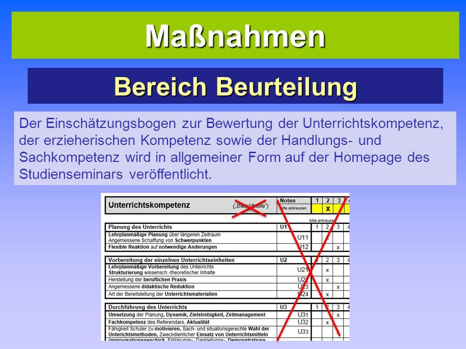 Maßnahmen Bereich Beurteilung Der Einschätzungsbogen zur Bewertung der Unterrichtskompetenz, der erzieherischen Kompetenz sowie der Handlungs- und Sachkompetenz wird in allgemeiner Form auf der Homepage des Studienseminars veröffentlicht.