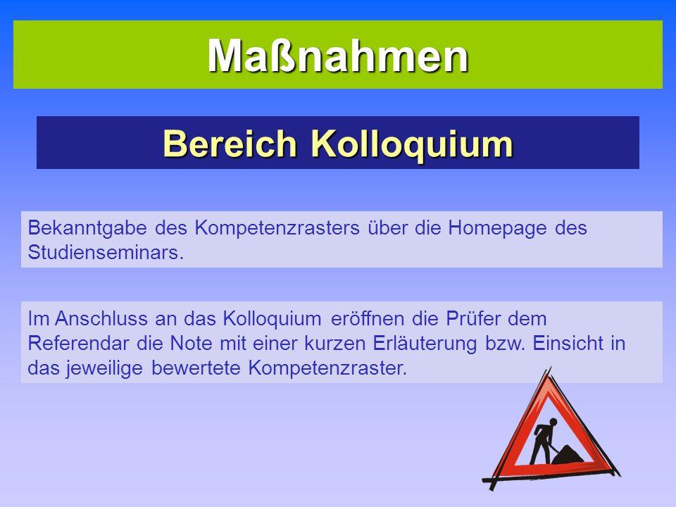 Maßnahmen Bereich Kolloquium Bekanntgabe des Kompetenzrasters über die Homepage des Studienseminars. Im Anschluss an das Kolloquium eröffnen die Prüfe