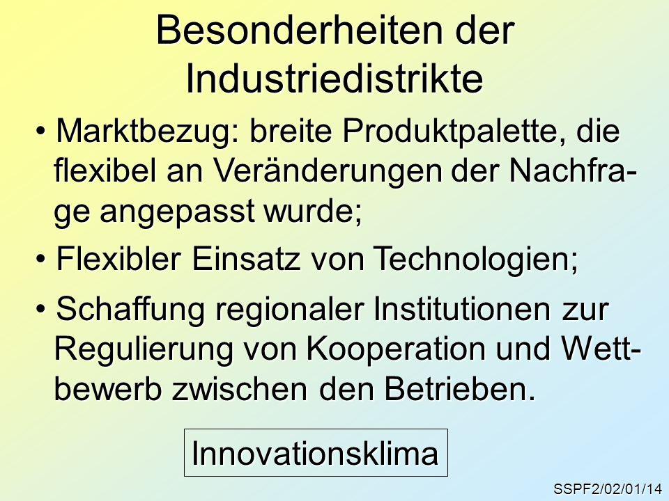 Besonderheiten der Industriedistrikte SSPF2/02/01/14 Marktbezug: breite Produktpalette, die Marktbezug: breite Produktpalette, die flexibel an Verände