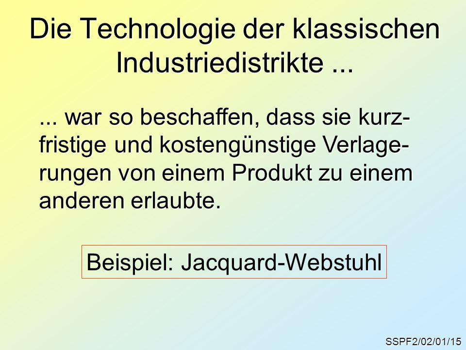 Die Technologie der klassischen Industriedistrikte... SSPF2/02/01/15... war so beschaffen, dass sie kurz- fristige und kostengünstige Verlage- rungen