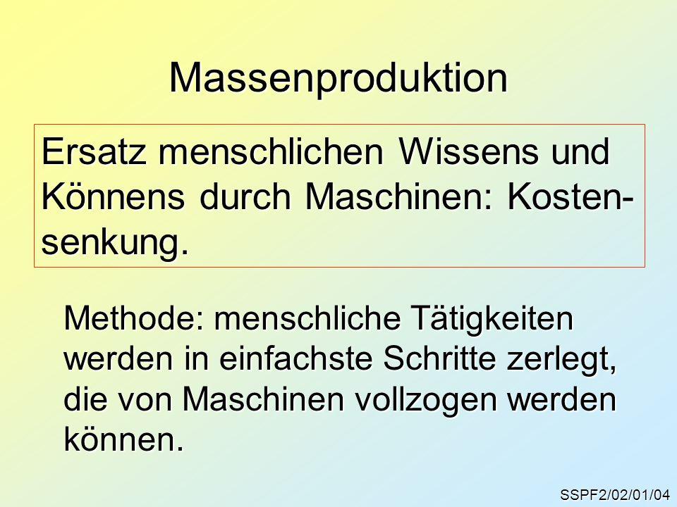 Massenproduktion Ersatz menschlichen Wissens und Könnens durch Maschinen: Kosten- senkung. Methode: menschliche Tätigkeiten werden in einfachste Schri