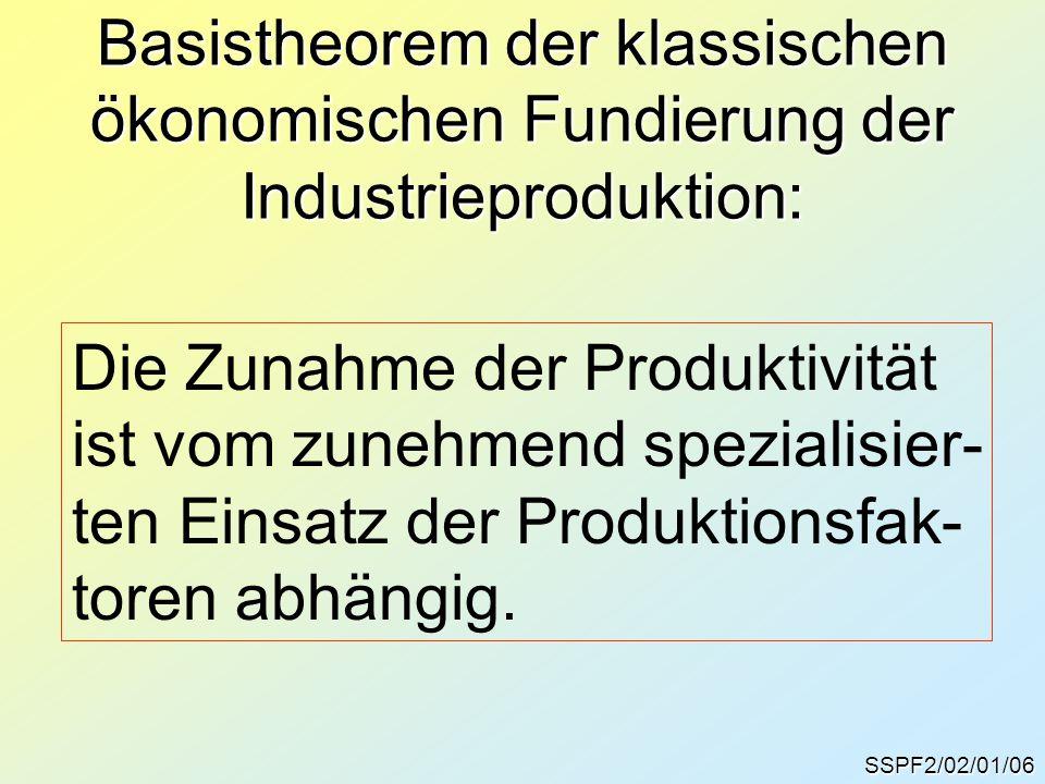 Basistheorem der klassischen ökonomischen Fundierung der Industrieproduktion: SSPF2/02/01/06 Die Zunahme der Produktivität ist vom zunehmend spezialis