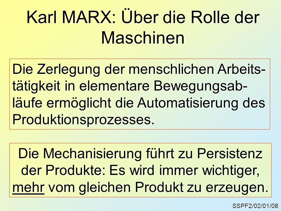 Karl MARX: Über die Rolle der Maschinen SSPF2/02/01/08 Die Zerlegung der menschlichen Arbeits- tätigkeit in elementare Bewegungsab- läufe ermöglicht d