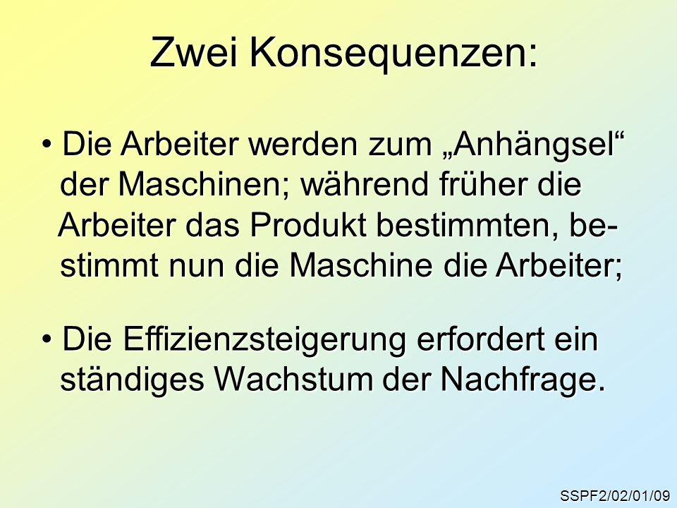 """Zwei Konsequenzen: SSPF2/02/01/09 Die Arbeiter werden zum """"Anhängsel"""" Die Arbeiter werden zum """"Anhängsel"""" der Maschinen; während früher die der Maschi"""