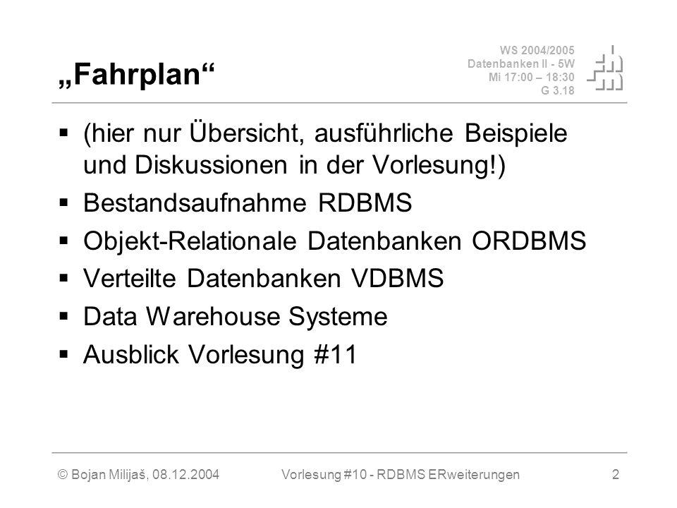 """WS 2004/2005 Datenbanken II - 5W Mi 17:00 – 18:30 G 3.18 © Bojan Milijaš, 08.12.2004Vorlesung #10 - RDBMS ERweiterungen2 """"Fahrplan  (hier nur Übersicht, ausführliche Beispiele und Diskussionen in der Vorlesung!)  Bestandsaufnahme RDBMS  Objekt-Relationale Datenbanken ORDBMS  Verteilte Datenbanken VDBMS  Data Warehouse Systeme  Ausblick Vorlesung #11"""