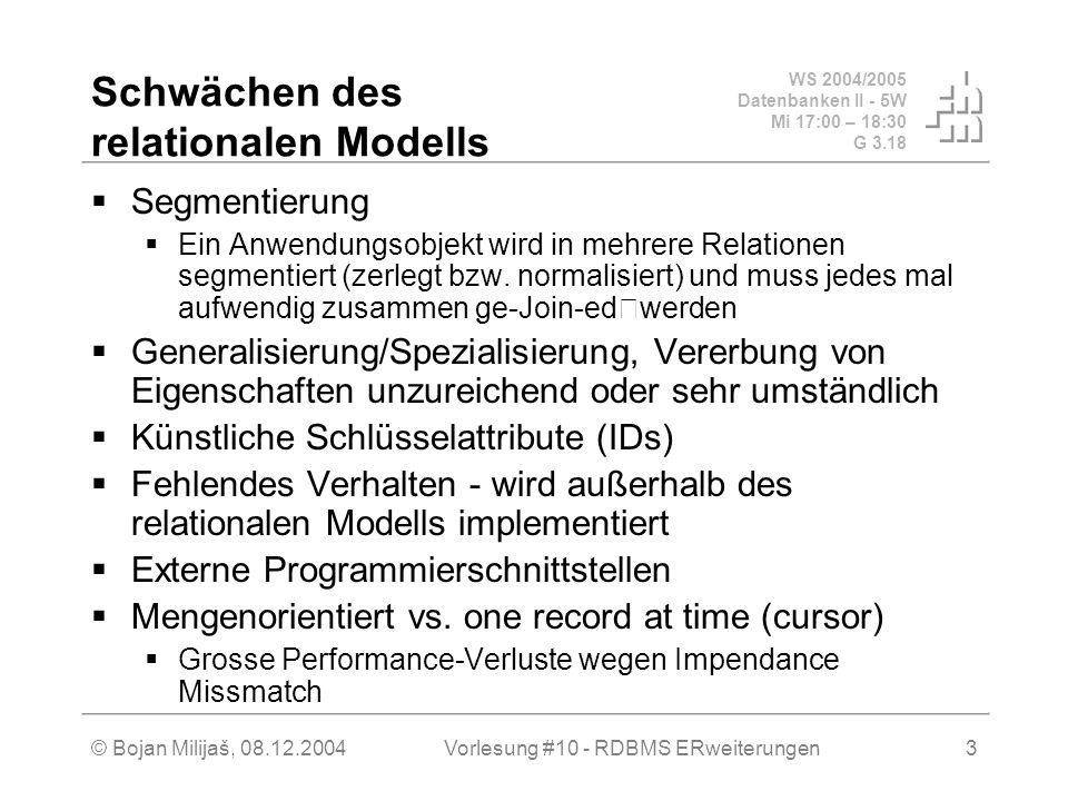 WS 2004/2005 Datenbanken II - 5W Mi 17:00 – 18:30 G 3.18 © Bojan Milijaš, 08.12.2004Vorlesung #10 - RDBMS ERweiterungen3 Schwächen des relationalen Modells  Segmentierung  Ein Anwendungsobjekt wird in mehrere Relationen segmentiert (zerlegt bzw.