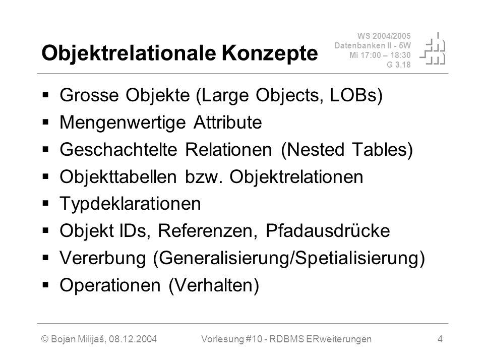 WS 2004/2005 Datenbanken II - 5W Mi 17:00 – 18:30 G 3.18 © Bojan Milijaš, 08.12.2004Vorlesung #10 - RDBMS ERweiterungen4 Objektrelationale Konzepte  Grosse Objekte (Large Objects, LOBs)  Mengenwertige Attribute  Geschachtelte Relationen (Nested Tables)  Objekttabellen bzw.