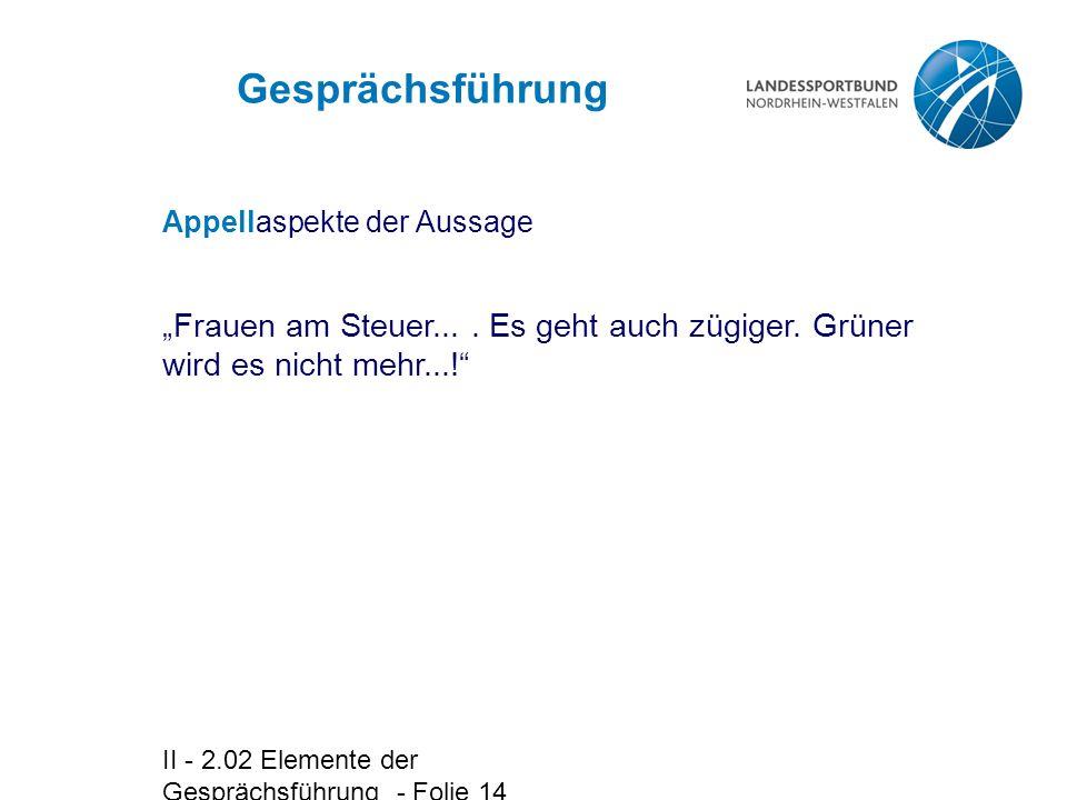 """II - 2.02 Elemente der Gesprächsführung - Folie 14 Appellaspekte der Aussage """"Frauen am Steuer...."""