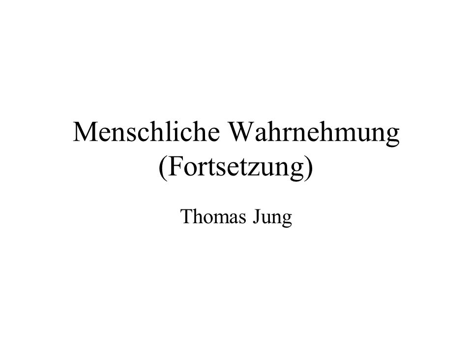 Menschliche Wahrnehmung (Fortsetzung) Thomas Jung