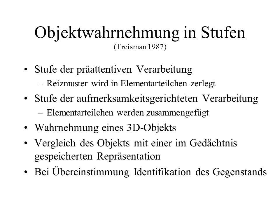 Objektwahrnehmung in Stufen (Treisman 1987) Stufe der präattentiven Verarbeitung –Reizmuster wird in Elementarteilchen zerlegt Stufe der aufmerksamkei