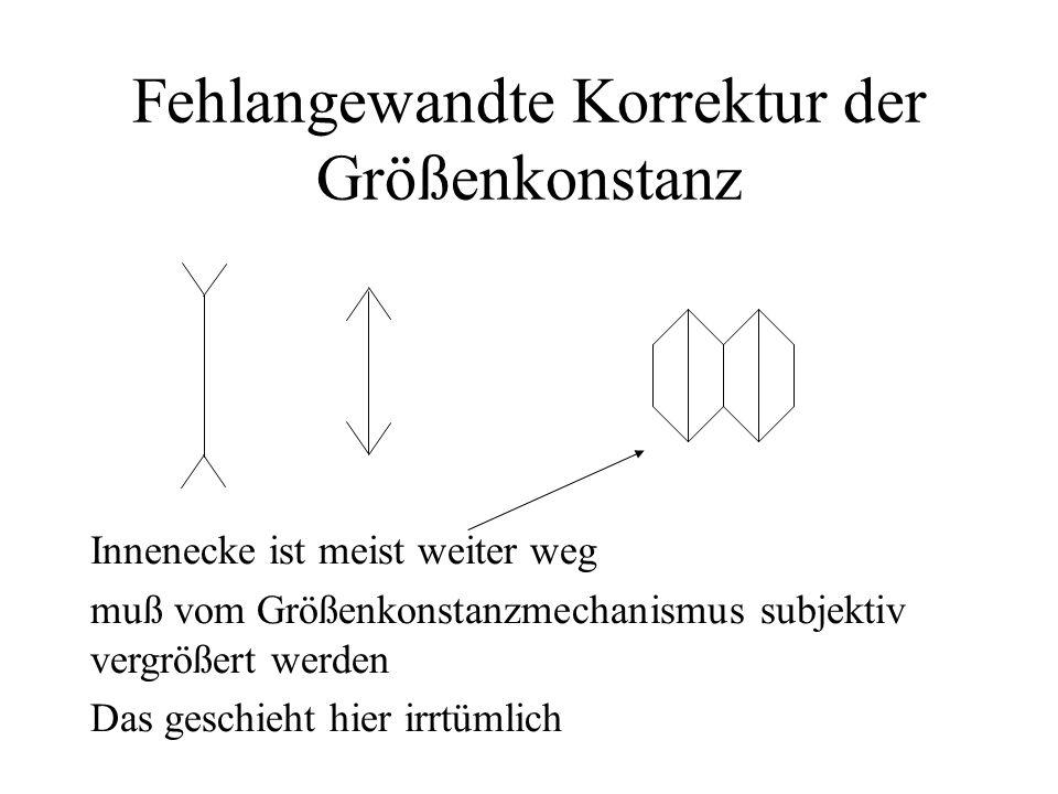 Fehlangewandte Korrektur der Größenkonstanz Innenecke ist meist weiter weg muß vom Größenkonstanzmechanismus subjektiv vergrößert werden Das geschieht