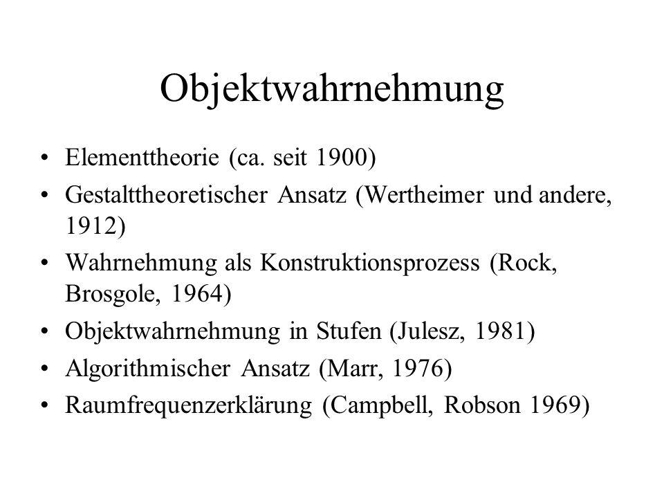 Objektwahrnehmung Elementtheorie (ca. seit 1900) Gestalttheoretischer Ansatz (Wertheimer und andere, 1912) Wahrnehmung als Konstruktionsprozess (Rock,