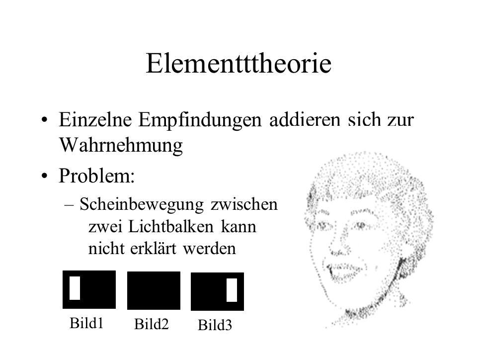Elementttheorie Einzelne Empfindungen addieren sich zur Wahrnehmung Problem: –Scheinbewegung zwischen zwei Lichtbalken kann nicht erklärt werden Bild1