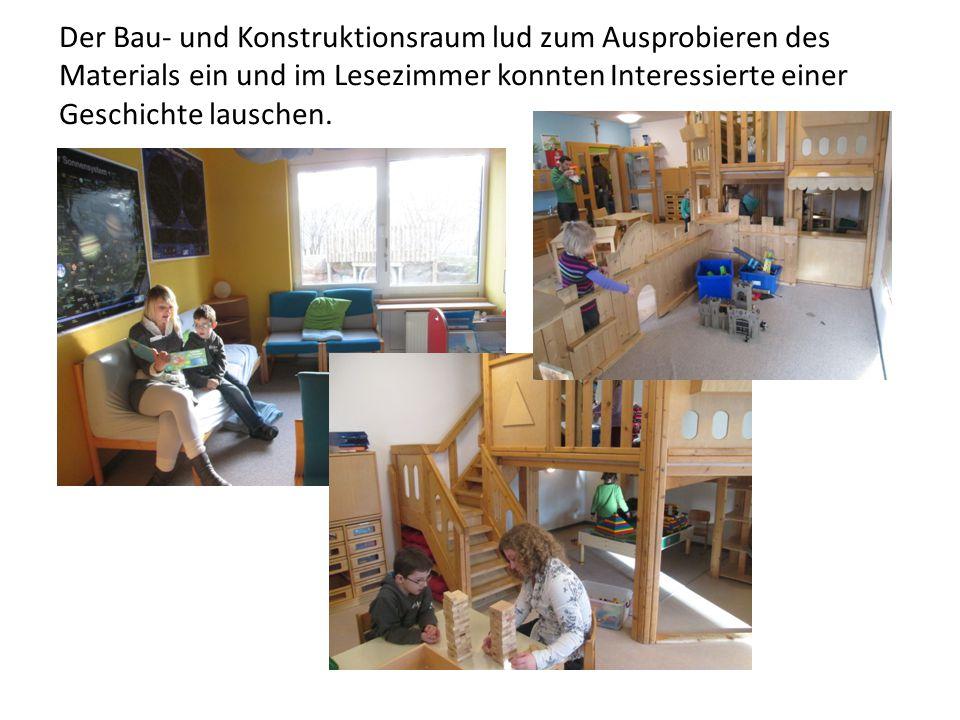 Der Bau- und Konstruktionsraum lud zum Ausprobieren des Materials ein und im Lesezimmer konnten Interessierte einer Geschichte lauschen.