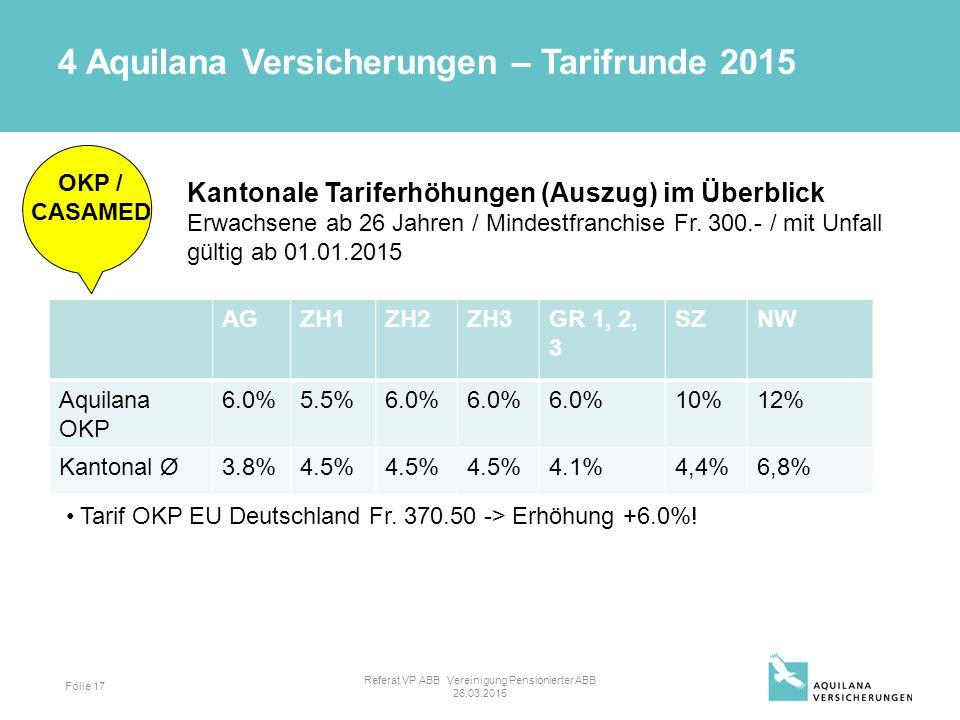 Folie 17 OKP / CASAMED Kantonale Tariferhöhungen (Auszug) im Überblick Erwachsene ab 26 Jahren / Mindestfranchise Fr.