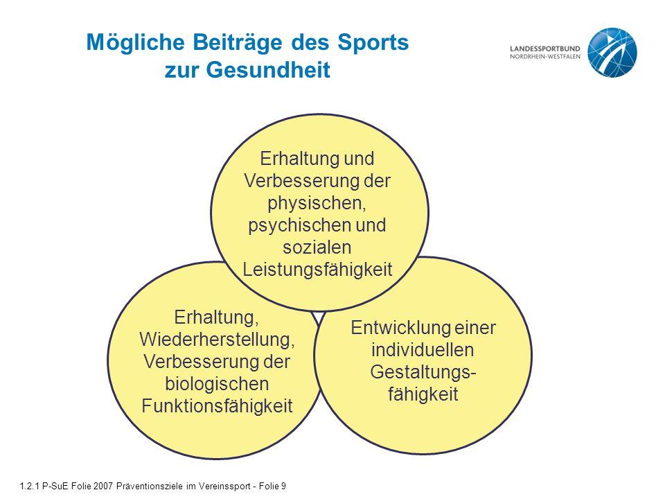 Mögliche Beiträge des Sports zur Gesundheit Erhaltung, Wiederherstellung, Verbesserung der biologischen Funktionsfähigkeit Entwicklung einer individue
