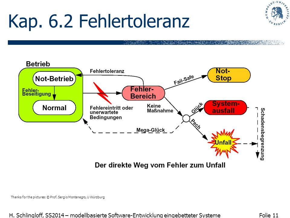 Folie 11 H. Schlingloff, SS2014 – modellbasierte Software-Entwicklung eingebetteter Systeme Kap. 6.2 Fehlertoleranz Thanks for the pictures: © Prof. S