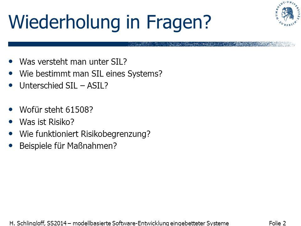 Folie 2 H. Schlingloff, SS2014 – modellbasierte Software-Entwicklung eingebetteter Systeme Wiederholung in Fragen? Was versteht man unter SIL? Wie bes