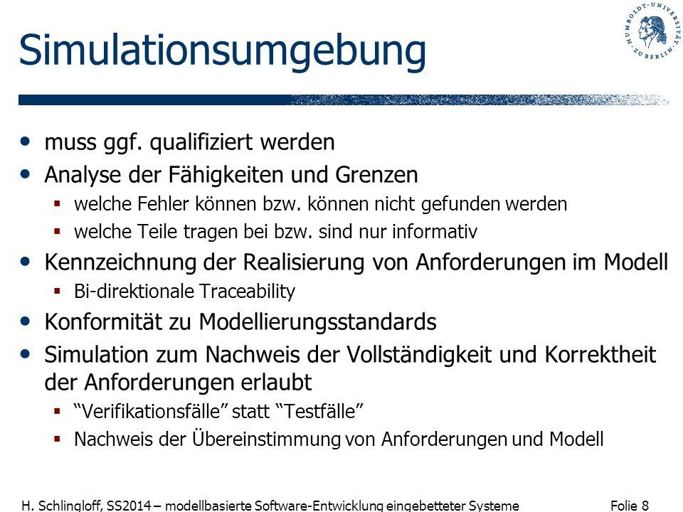 Folie 8 H. Schlingloff, SS2014 – modellbasierte Software-Entwicklung eingebetteter Systeme Simulationsumgebung muss ggf. qualifiziert werden Analyse d