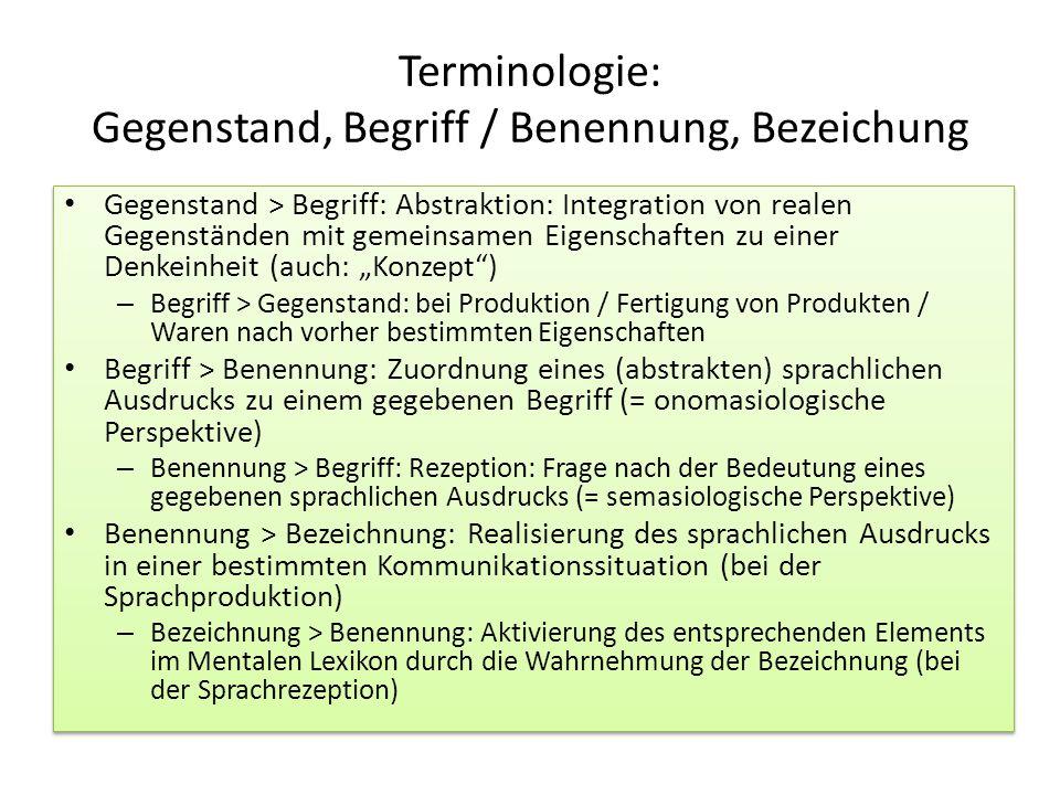Terminologie: Gegenstand, Begriff / Benennung, Bezeichung Gegenstand > Begriff: Abstraktion: Integration von realen Gegenständen mit gemeinsamen Eigen