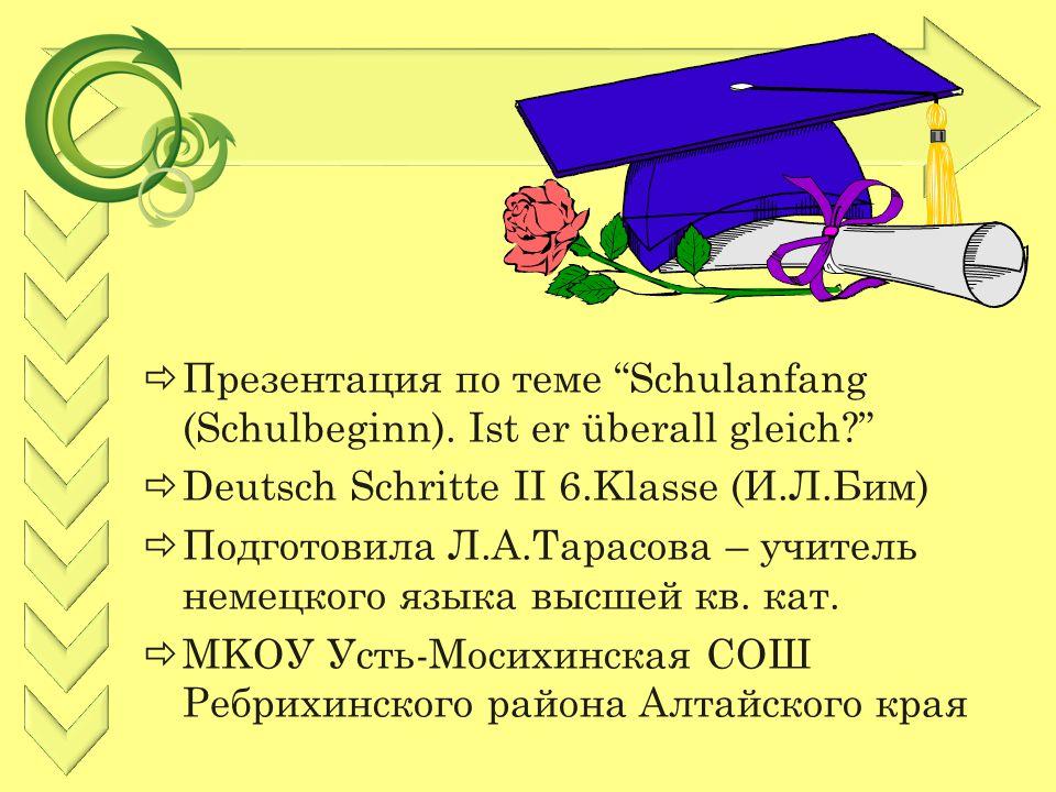  Презентация по теме Schulanfang (Schulbeginn).