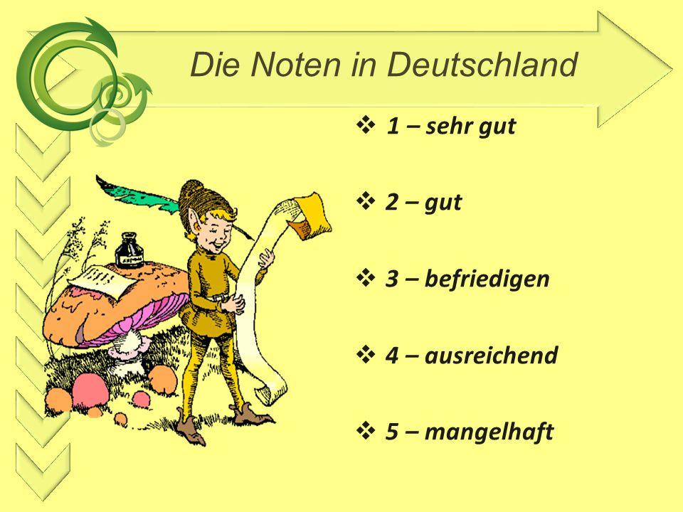 Die Noten in Deutschland  1 – sehr gut  2 – gut  3 – befriedigen  4 – ausreichend  5 – mangelhaft