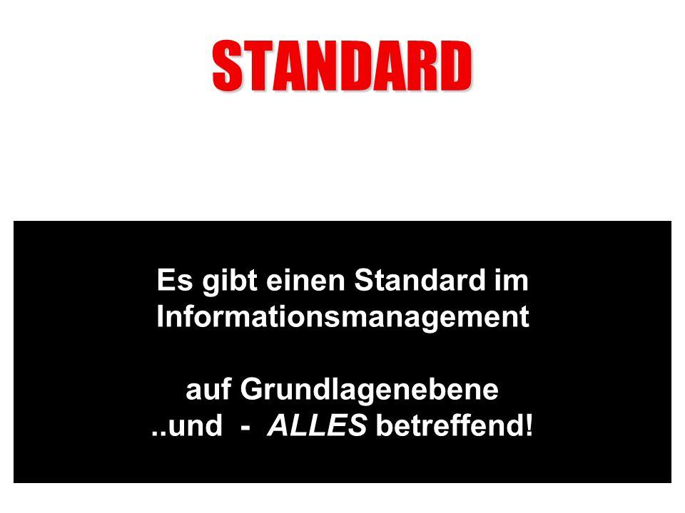 STANDARD Es gibt einen Standard im Informationsmanagement auf Grundlagenebene..und - ALLES betreffend!