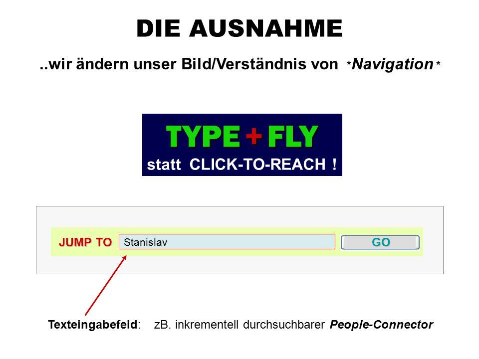 DIE AUSNAHME..wir ändern unser Bild/Verständnis von * Navigation * JUMP TO GO Stanislav Texteingabefeld: zB.
