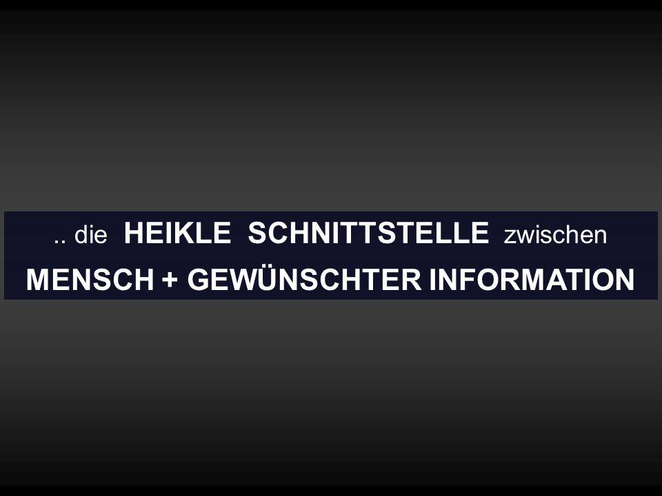 .. die HEIKLE SCHNITTSTELLE zwischen MENSCH + GEWÜNSCHTER INFORMATION